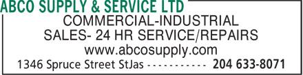 ABCO Supply & Service Ltd (204-633-8071) - Annonce illustrée======= -
