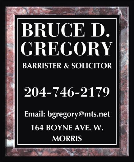 Gregory Bruce D (204-746-2179) - Annonce illustrée======= -