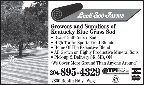 Lach Sod Farms (204-895-4329) - Annonce illustrée======= - Growers and Suppliers of Kentucky Blue Grass Sod Dwarf Golf Course Sod High Traffic Sports Field Blends Home Of The Executive Blend All Grown on Highly Productive Mineral Soils Pick-up & Delivery SK, MB, ON We Cover More Ground Than Anyone Around 204- 895-4329 7800 Roblin Hdly., Wpg.