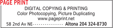 Page Print (204-324-8730) - Display Ad - DIGITAL COPYING & PRINTING Color Photocopying, Picture Duplicating www.pageprint.net