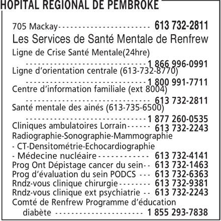 Hôpital Régional de Pembroke (613-732-2811) - Annonce illustrée======= - Les Services de Santé Mentale de Renfrew