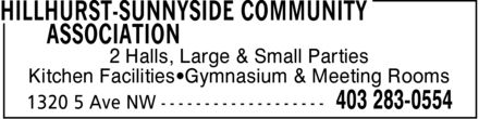 Hillhurst-Sunnyside Community Association (403-283-0554) - Annonce illustrée======= - 2 Halls, Large & Small Parties Kitchen Facilities Gymnasium & Meeting Rooms