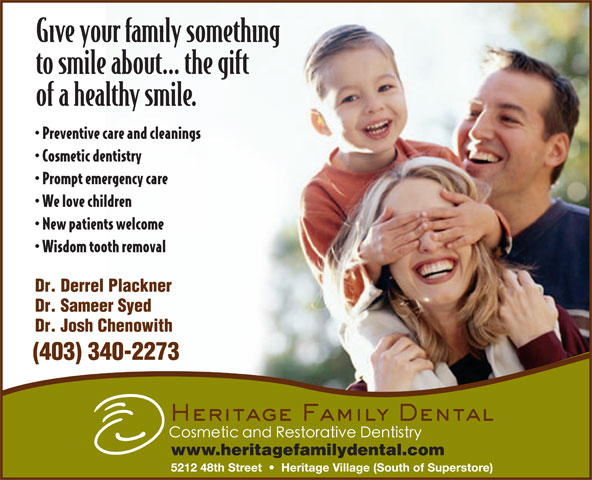 Heritage Family Dental (403-340-2273) - Annonce illustrée======= - (403) 340-2273 www.heritagefamilydental.com