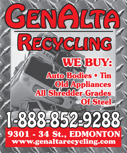 Genalta Recycling Inc (1-888-852-9288) - Annonce illustrée======= - Auto Bodies   Tin Old Appliances All Shredder Grades Of Steel www.genaltarecycling.com