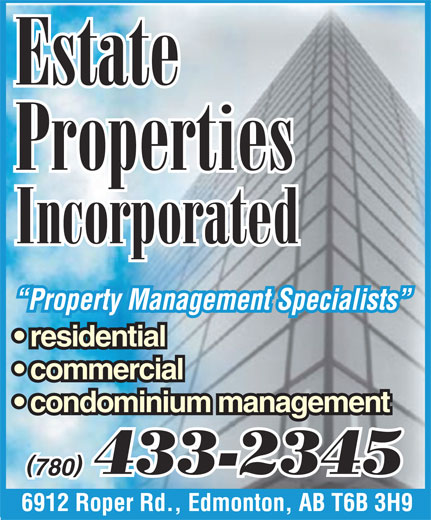 Estate Properties Incorporated (780-433-2345) - Display Ad -