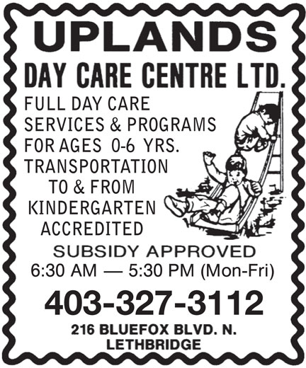 Uplands Day Care Centre Ltd (403-327-3112) - Annonce illustrée======= -