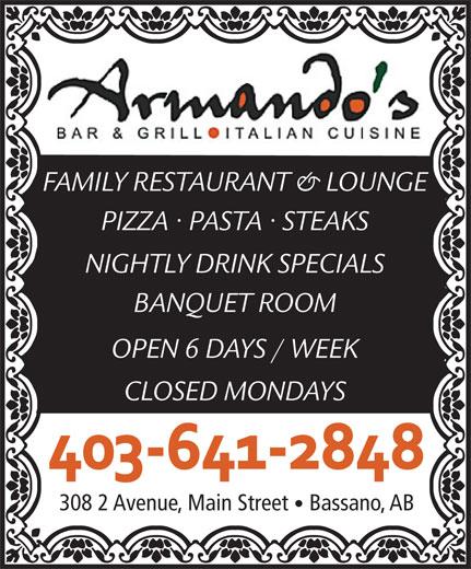 Armando's Bar & Grill (403-641-2848) - Display Ad -
