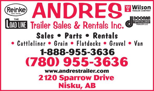 Andres Trailer Sales & Rentals Inc (780-955-3636) - Annonce illustrée======= -