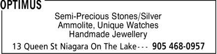 Optimus (905-468-0957) - Display Ad - Semi-Precious Stones/Silver Ammolite, Unique Watches Handmade Jewellery