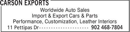 Carson Exports (902-468-7804) - Annonce illustrée======= - Worldwide Auto Sales Import & Export Cars & Parts Performance, Customization, Leather Interiors
