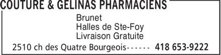 Couture & Gélinas Pharmaciens (418-653-9222) - Annonce illustrée======= - Brunet Halles de Ste-Foy Livraison Gratuite