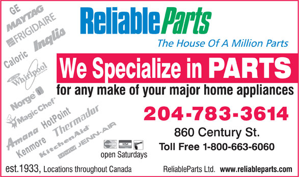 Reliable Parts Ltd (204-783-3614) - Display Ad -