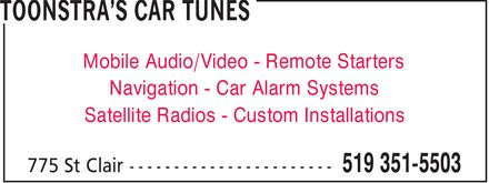 Toonstar's Car Tunes (519-351-5503) - Annonce illustrée======= - Mobile Audio/Video Remote Starters Navigation Car Alarm Systems Satellite Radios Custom Installations