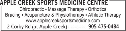Applecreek Sports Medicine Centre (905-475-0484) - Annonce illustrée======= - Chiropractic • Massage Therapy • Orthotics Bracing • Acupuncture & Physiotherapy • Athletic Therapy www.applecreeksportsmedicine.com