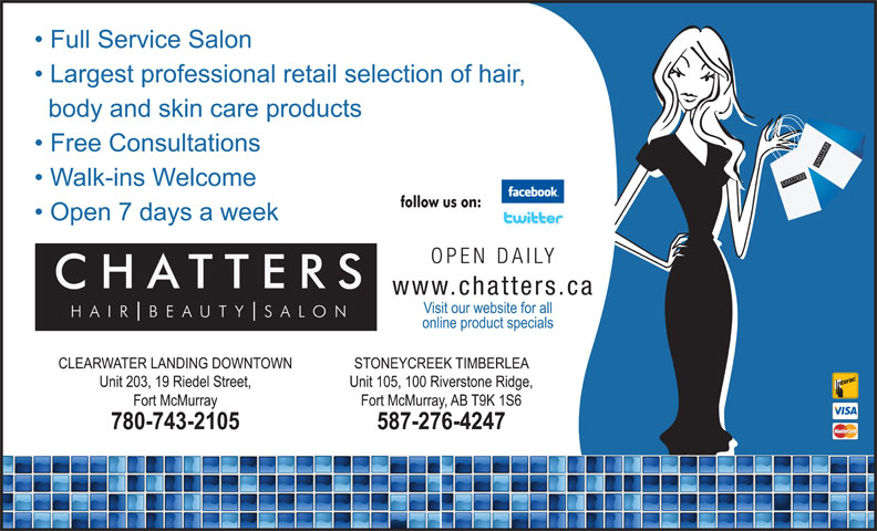 Chatters Salon (780-743-2105) - Annonce illustrée======= - SH SALO UT TTER BE AIR SSALO NCH CHATTER