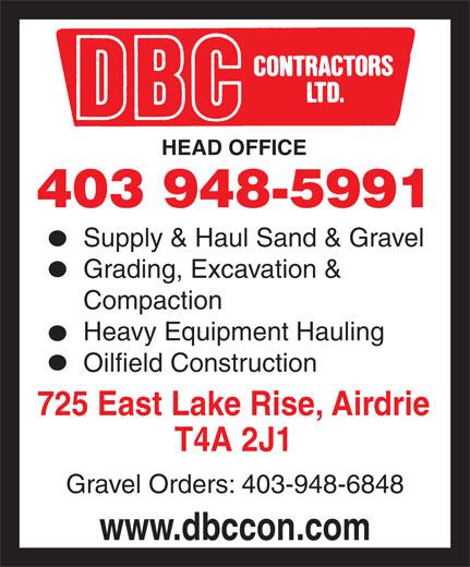 D B C Contractors Ltd (403-948-5991) - Annonce illustrée======= -