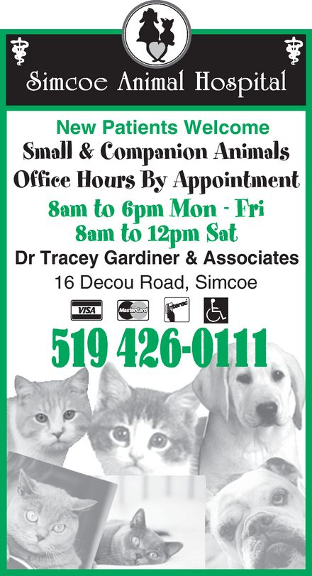 Simcoe Animal Hospital (519-426-0111) - Display Ad -