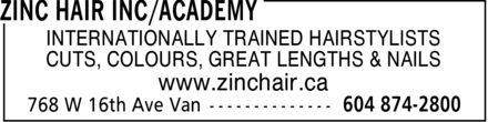 Zinc Hair (604-874-2800) - Annonce illustrée======= -