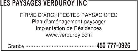 Les Paysages Verduroy Inc (450-777-0926) - Annonce illustrée======= - Plan d'aménagement paysager FIRME D'ARCHITECTES PAYSAGISTES Implantation de Résidences www.verduroy.com