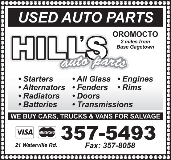 T Hill Auto Parts (506-357-5493) - Display Ad -