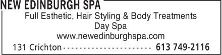 New Edinburgh Hairstyling & Spa (613-749-2116) - Annonce illustrée======= - Full Esthetic, Hair Styling & Body Treatments Day Spa www.newedinburghspa.com Full Esthetic, Hair Styling & Body Treatments Day Spa www.newedinburghspa.com