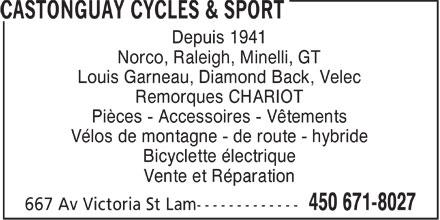 Castonguay Cycles & Sport (450-671-8027) - Annonce illustrée======= -