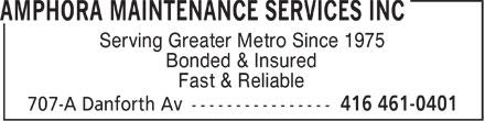 Amphora Maintenance Services Inc (416-461-0401) - Annonce illustrée======= - Serving Greater Metro Since 1975 Bonded & Insured Fast & Reliable  Serving Greater Metro Since 1975 Bonded & Insured Fast & Reliable  Serving Greater Metro Since 1975 Bonded & Insured Fast & Reliable  Serving Greater Metro Since 1975 Bonded & Insured Fast & Reliable  Serving Greater Metro Since 1975 Bonded & Insured Fast & Reliable  Serving Greater Metro Since 1975 Bonded & Insured Fast & Reliable  Serving Greater Metro Since 1975 Bonded & Insured Fast & Reliable  Serving Greater Metro Since 1975 Bonded & Insured Fast & Reliable