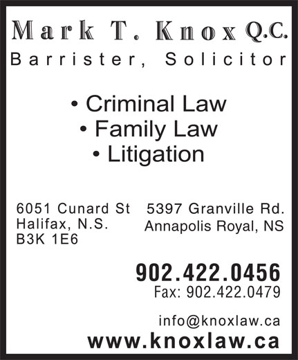 Mark Knox T QC (902-422-0456) - Annonce illustrée======= - Annapolis Royal, NS 902.422.0456 Fax: 902.422.0479 Annapolis Royal, NS 902.422.0456 Fax: 902.422.0479