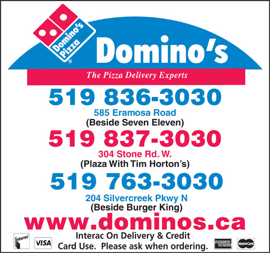 domino 39 s pizza 304 stone road west guelph on. Black Bedroom Furniture Sets. Home Design Ideas