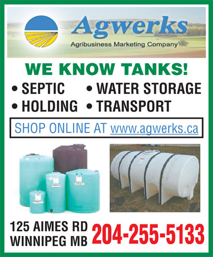 Agwerks (204-255-5133) - Annonce illustrée======= - WATER STORAGE HOLDING  TRANSPORT SHOP ONLINE AT www.agwerks.ca 125 AIMES RD 204-255-5133 WINNIPEG MB WE KNOW TANKS! SEPTIC