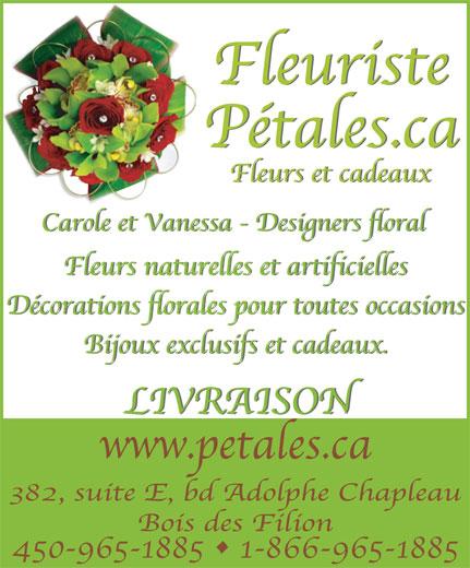 Fleuriste Pétales Ca (450-965-1885) - Annonce illustrée======= -