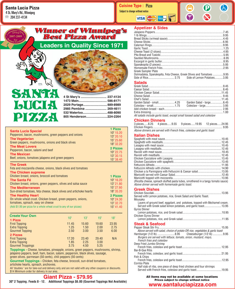 santa lucia pizza 4 st mary 39 s rd winnipeg mb. Black Bedroom Furniture Sets. Home Design Ideas