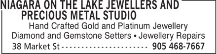Niagara On The Lake Jewellers and Precious MetalStudio (905-468-7667) - Display Ad - Hand Crafted Gold and Platinum Jewellery Diamond and Gemstone Setters ¹ Jewellery Repairs