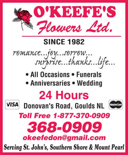 O'Keefe's Flowers Ltd (709-368-0909) - Annonce illustrée======= -