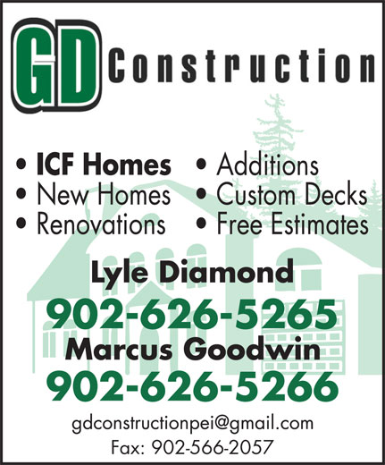 GD Construction (902-626-5266) - Annonce illustrée======= - 902-626-5266 Fax: 902-566-2057 902-626-5265