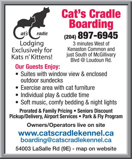Cat's Cradle Boarding Kennel 2006 (204-897-6945) - Annonce illustrée======= -