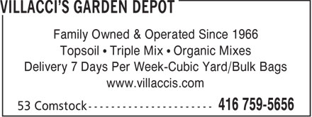 Villacci's (416-759-5656) - Annonce illustrée======= - Family Owned & Operated Since 1966 Topsoil   Triple Mix   Organic Mixes Delivery 7 Days Per Week-Cubic Yard/Bulk Bags www.villaccis.com  Family Owned & Operated Since 1966 Topsoil   Triple Mix   Organic Mixes Delivery 7 Days Per Week-Cubic Yard/Bulk Bags www.villaccis.com  Family Owned & Operated Since 1966 Topsoil   Triple Mix   Organic Mixes Delivery 7 Days Per Week-Cubic Yard/Bulk Bags www.villaccis.com  Family Owned & Operated Since 1966 Topsoil   Triple Mix   Organic Mixes Delivery 7 Days Per Week-Cubic Yard/Bulk Bags www.villaccis.com  Family Owned & Operated Since 1966 Topsoil   Triple Mix   Organic Mixes Delivery 7 Days Per Week-Cubic Yard/Bulk Bags www.villaccis.com