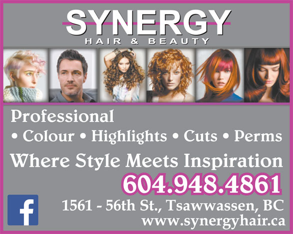 Synergy Hair & Beauty (604-948-4861) - Annonce illustrée======= - Professional Colour   Highlights   Cuts   Perms Where Style Meets Inspiration 604.948.4861