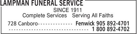 Lampman Funeral Service (905-892-4701) - Annonce illustrée======= - Complete Services Serving All Faiths SINCE 1911