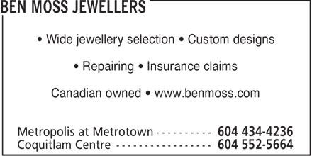 Ben Moss Jewellers (604-434-4236) - Display Ad -