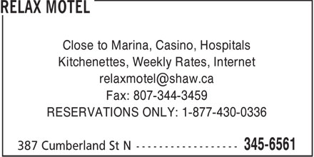 Relax Motel (807-345-6561) - Display Ad -