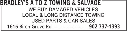 A To Z Towing & Salvage (902-737-1393) - Annonce illustrée======= - LOCAL & LONG DISTANCE TOWING USED PARTS & CAR SALES WE BUY DAMAGED VEHICLES