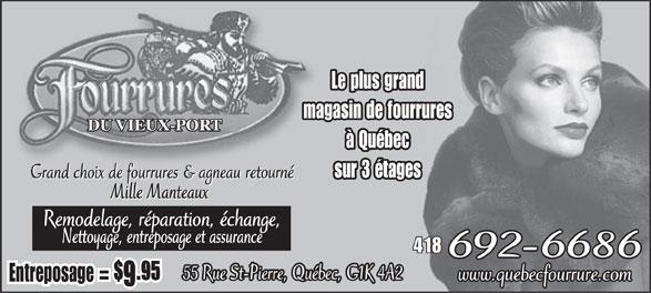 Fourrures du vieux port (les) - 55, rue saint-pierre, québec, qc