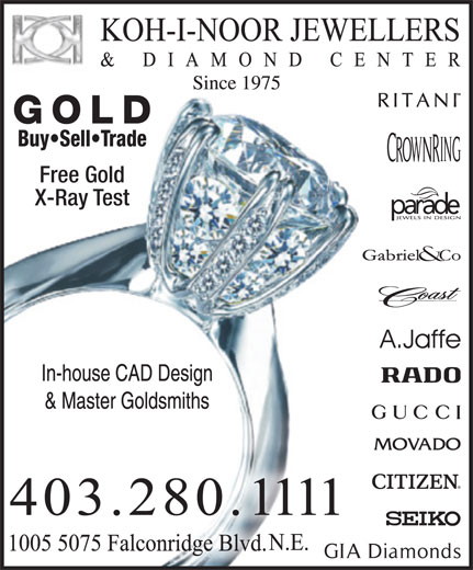Koh-i-noor Jewellers & Diamond Ctr (403-280-1111) - Display Ad -