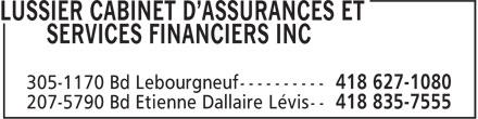 Lussier Cabinet D'assurances Et Services Financiers Inc (418-627-1080) - Annonce illustrée======= -