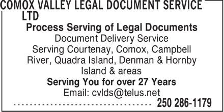 Comox Valley Legal Document Services (250-334-0998) - Annonce illustrée======= -