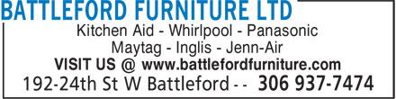 Battleford Furniture Ltd (306-937-7474) - Annonce illustrée======= - Kitchen Aid - Whirlpool - Panasonic Maytag - Inglis - Jenn-Air VISIT US @ www.battlefordfurniture.com