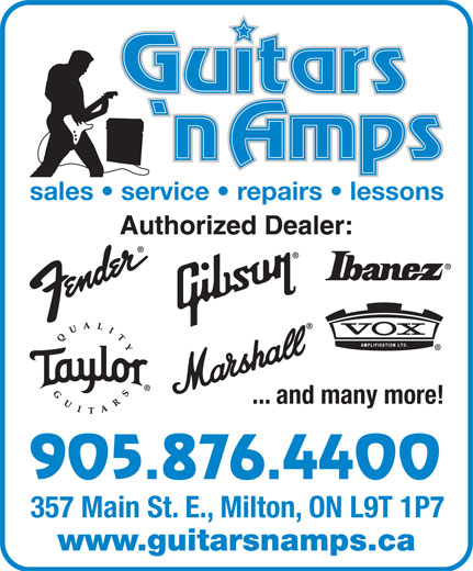 Guitars N Amps (905-876-4400) - Annonce illustrée======= - sales   service   repairs   lessons ... and many more! 905.876.4400 357 Main St. E., Milton, ON L9T 1P7 www.guitarsnamps.ca