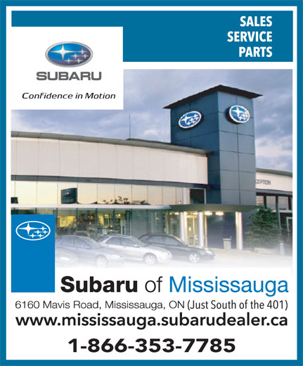 Subaru Of Mississauga (905-569-7777) - Annonce illustrée======= - 1-866-353-7785