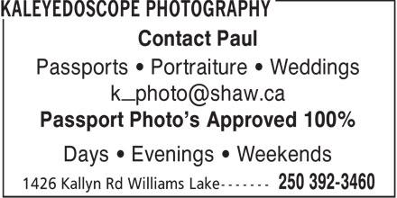 Kaleyedoscope Photography (250-392-3460) - Annonce illustrée======= -